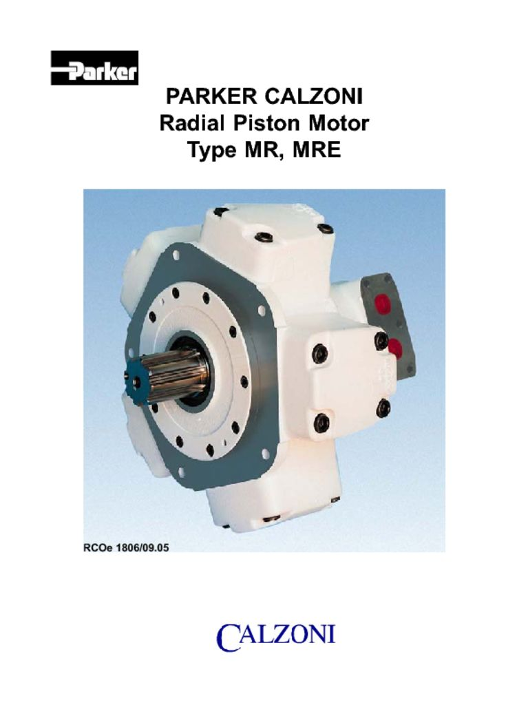 Parker Calzoni Radial Piston Motor Type MR, MRE – HY29-0612