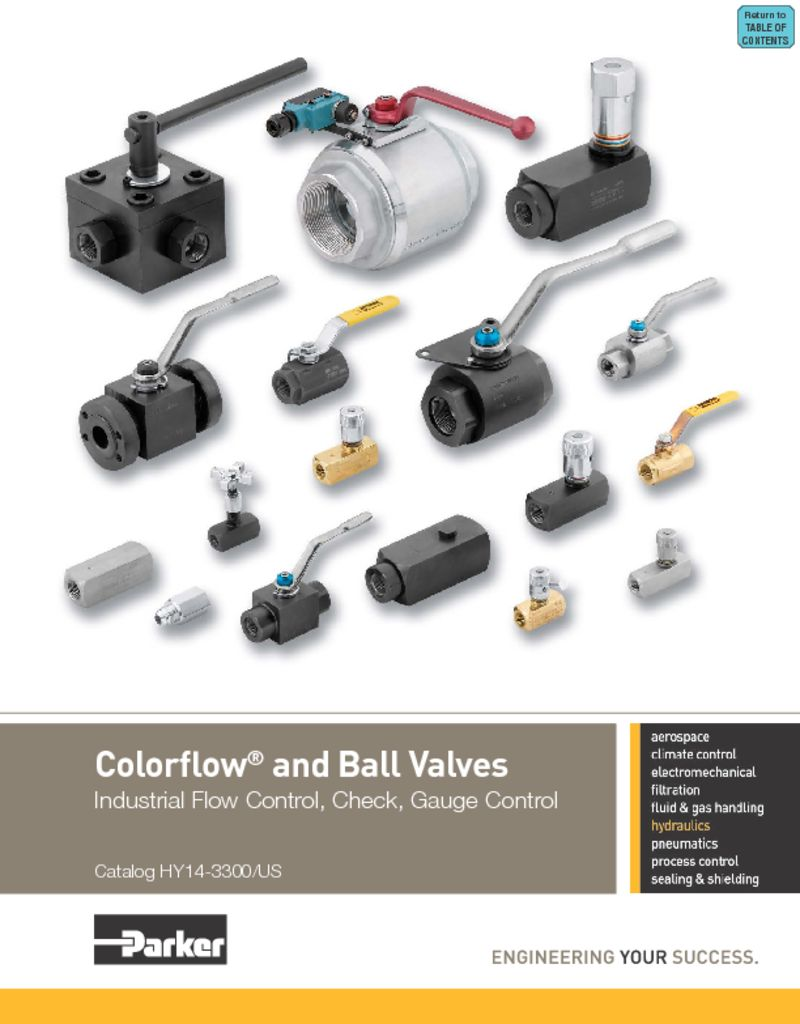Parker Colorflow and Ball Valves – Industrial Flow Control, Check, Gauge Control – Catalog HY14-3300 US