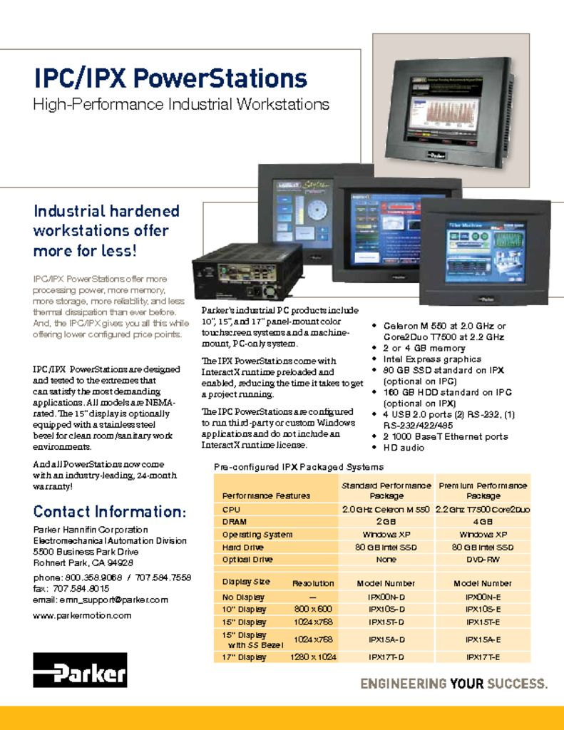 Parker IPC-IPX PowerStations High Performance Industrial Workstations