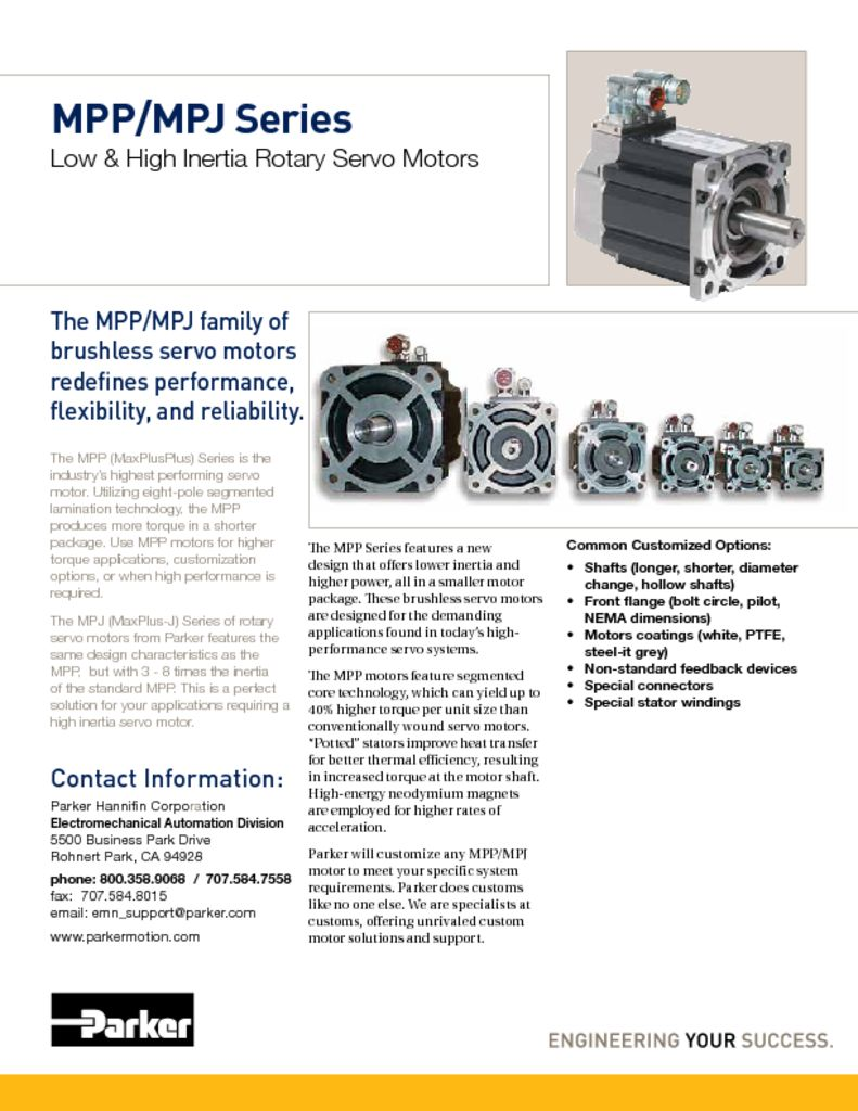 Parker MPP MPJ Series Low and High Inertia Rotary Servo Motors