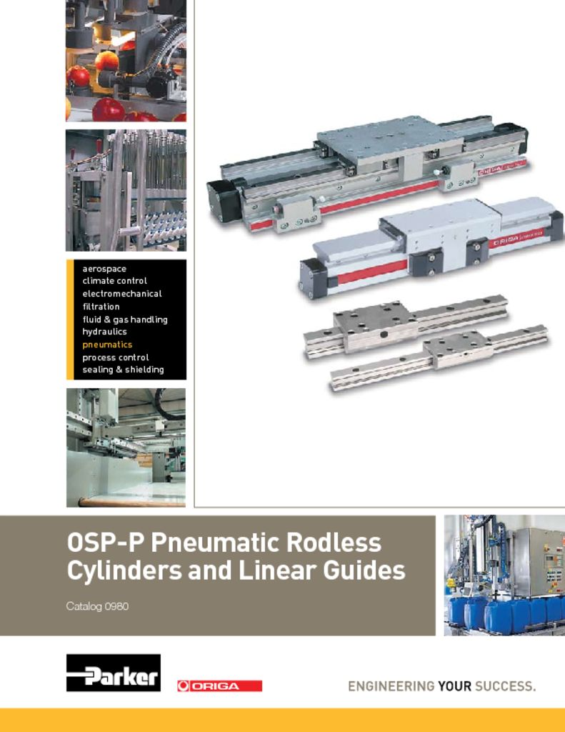 Parker OSP-P Pneumatic Rodless Cylinders and Linear Guides – Catalog 0980