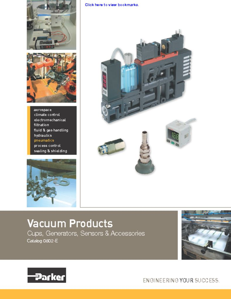 Parker Vacuum Products – Cups, Generators, Sensors, and Accessories – Catalog 0802-E