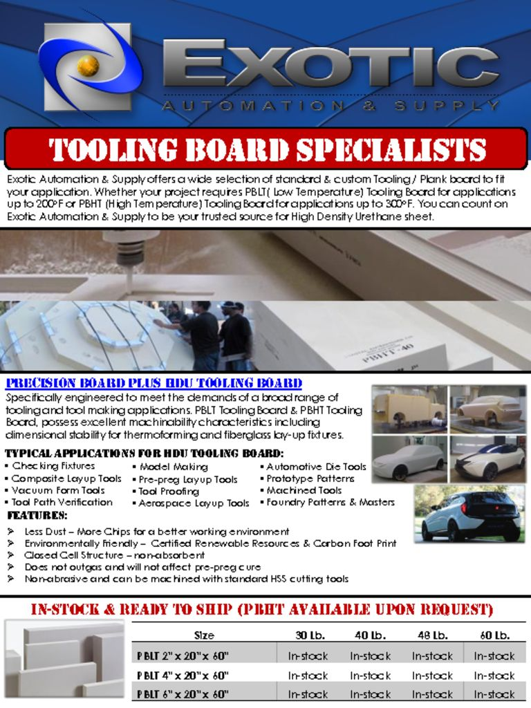 Exotic Tooling Board Flyer