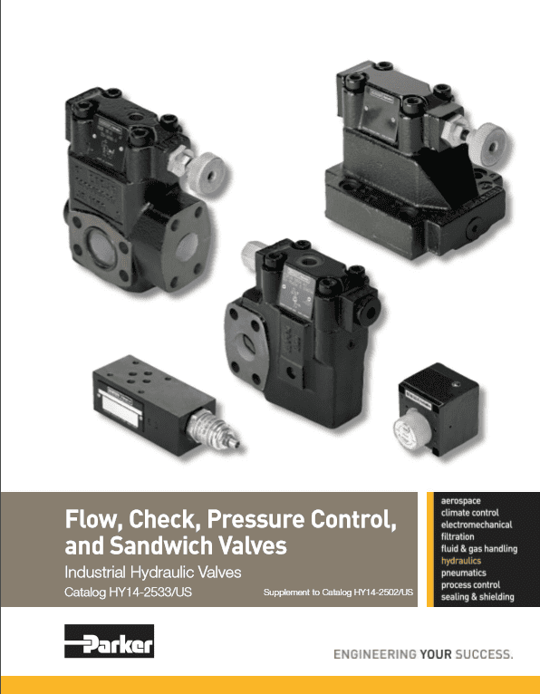 Parker Flow, Check, Pressure Control and Sandwich Valves – HY14 – 2533