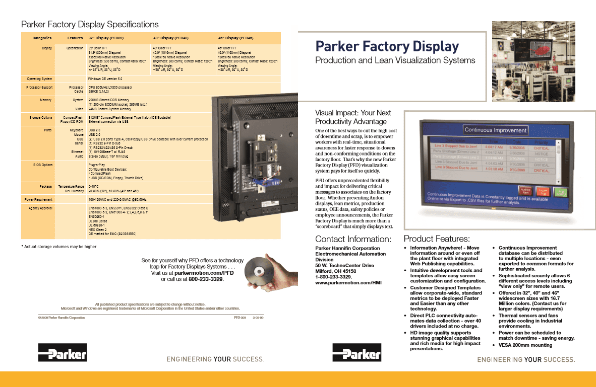 Parker Factory Display Specifications