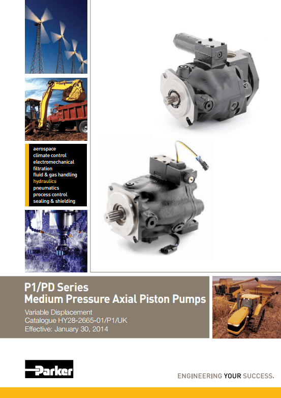Parker P1 PD Series Medium Pressure Axial Piston Pumps Catalog HY28-2665-01 UK