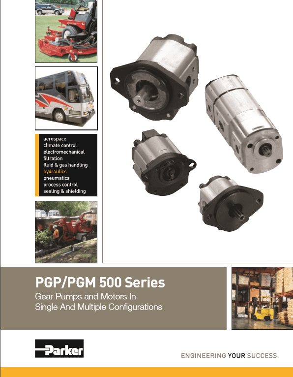 Parker PGP PGM 500 Series Gear Pumps and Motors In Single and Multiple Configurations