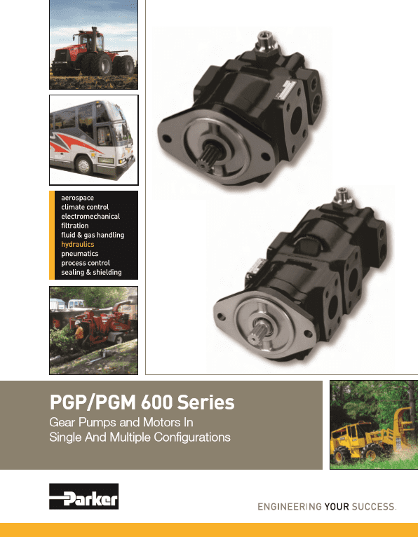 Parker PGP PGM 600 Series Gear Pumps and Motors in Singe and Multiple Configurations