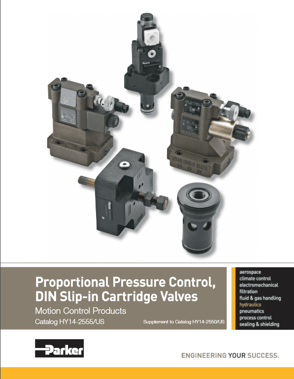 Parker Proportional Pressure Control, DIN Slip-in Cartridge Valves – HY14-2555 US