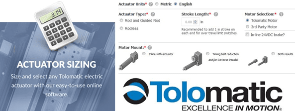Tolomatic's Electric Actuator Sizing Application