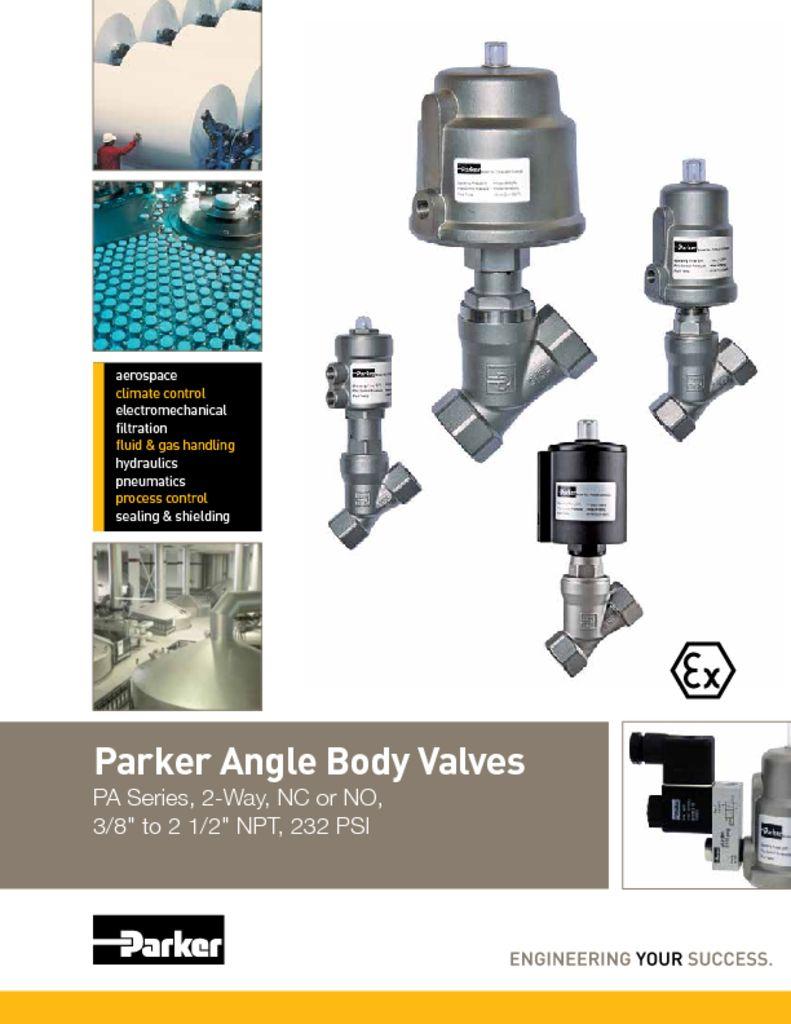 Parker Angle Body Valves