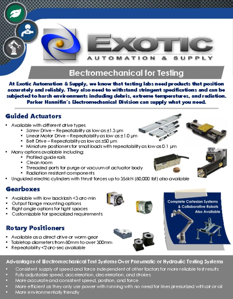 Electromechanical Solutions for Testing