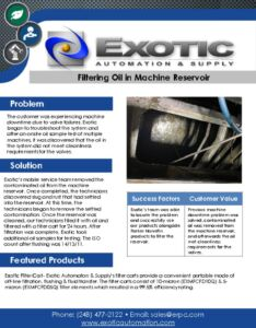 thumbnail of Filtering Oil in Machine Reservoir Case Study