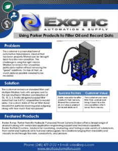 thumbnail of Using Parker Products to Filter Oil and Record Data Case Study